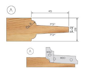 Picture of PORTE-OUTILS PLATE BANDE MULTI-PROFILS WS PP019055 Ø180 Al:50 Profile A Dessus Utilisation sur toupie