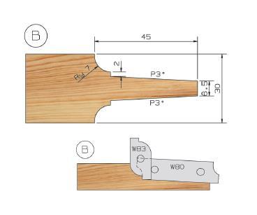 Picture of PORTE-OUTILS PLATE BANDE MULTI-PROFILS WS PP019070 Ø180 Al:50 Profile B Dessous Utilisation sur toupie