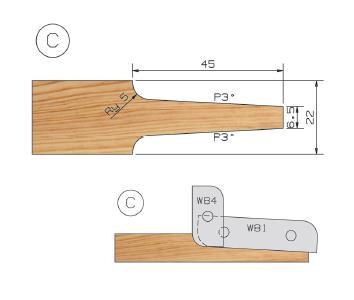 Picture of PORTE-OUTILS PLATE BANDE MULTI-PROFILS WS PP019080 Ø180 Al:50 Profile C Dessous Utilisation sur toupie