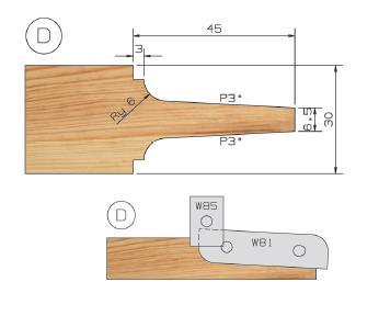 Picture of PORTE-OUTILS PLATE BANDE MULTI-PROFILS WS PP019040 Ø146 Al:25 Profile D Dessous Utilisation sur Manchon