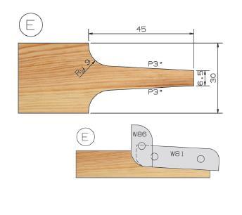Picture of PORTE-OUTILS PLATE BANDE MULTI-PROFILS WS PP019095 Ø180 Al:50 Profile E Dessus Utilisation sur toupie