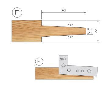 Picture of PORTE-OUTILS PLATE BANDE MULTI-PROFILS WS PP019140 Ø146 Al:25 Profile F Dessous Utilisation sur Manchon