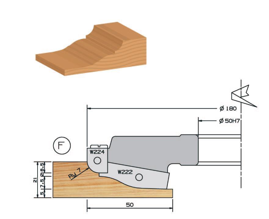 Picture of PORTE-OUTILS PLATE BANDE DOUCINE MULTI-PROFILS WS PP019115 Ø180 Al:50 Profile G Dessous