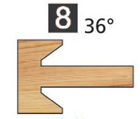 Picture of TÊTES CONTRE PROFIL MULTI-TENONS À PLAQUETTE WS MT020830 Chanfrein 36° 10 x 7 Dessous