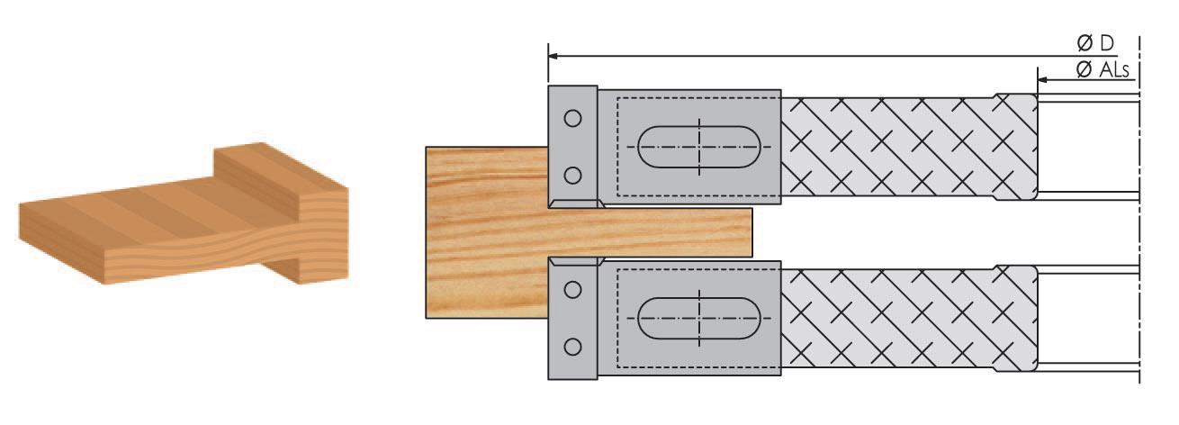 Picture of 2 PORTE-OUTILS A TENONNER MULTI-TENONS À PLAQUETTE WS MT010950 Dessus et Dessous Ø280/320 H:30  Al:50