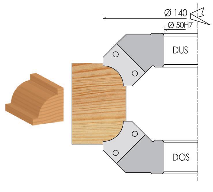 Picture of PORTE-OUTILS 1/4 DE ROND À PLAQUETTES WS PM034035 Dessus Ø140 R:15 Al:50