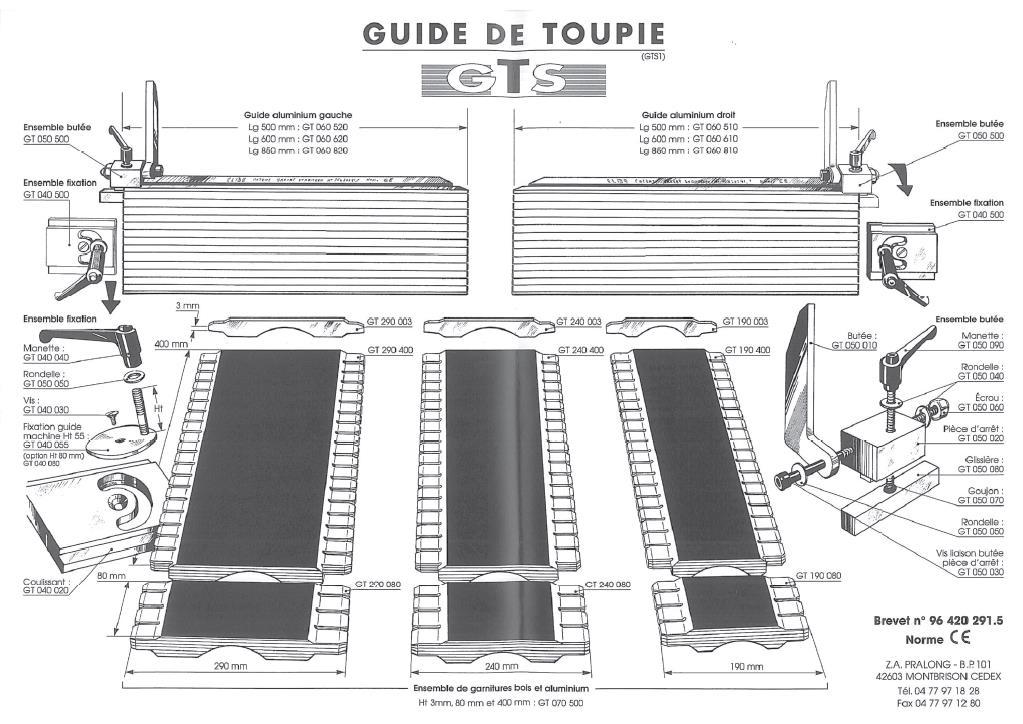 Picture of Guide gauche nu 850 mm GT060820 pour guide de toupie GTS